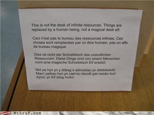 desk,elf,infinite resources,note,passive aggressive,signs