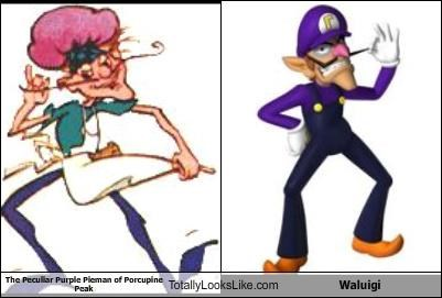 mario,strawberry shortcake,the peculiar purple pieman of porcupine peak,waluigi
