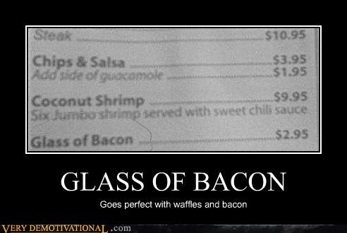bacon food glass nom nom nom