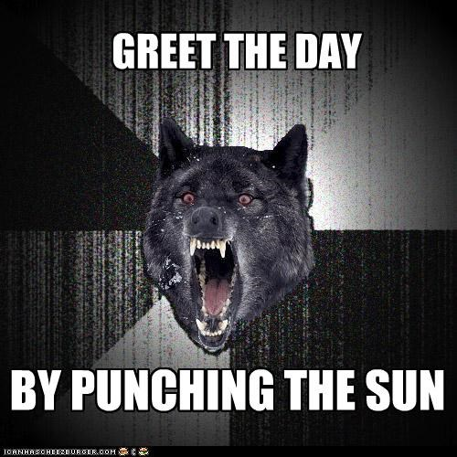 fist greet the day Insanity Wolf punch sun - 4261627904