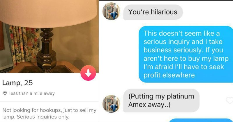Girl makes a Tinder profile for her lamp, which ends up setting off a chain reaction of ridiculous conversations.