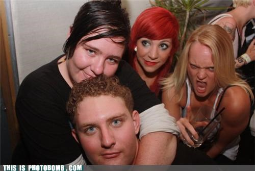 babe drinking Party photobomb red hair