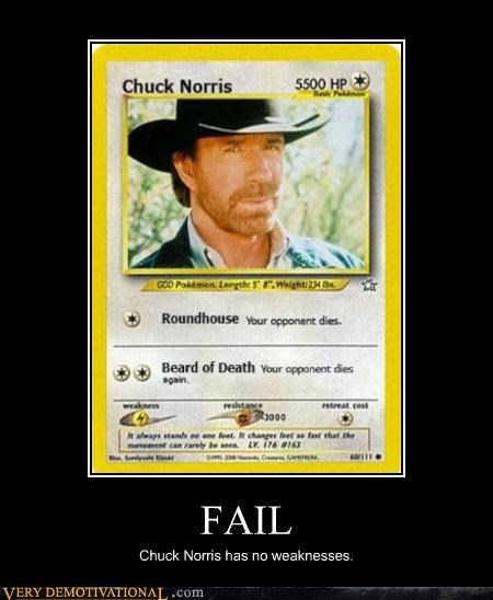FAIL Chuck Norris has no weaknesses.