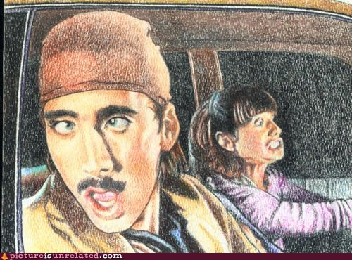 awesome nicholas cage painting raising arizona wtf