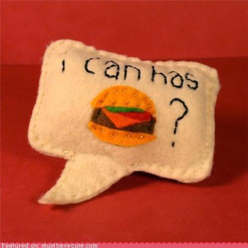 cat catnip cheezburger felt ichc pets toy - 4263188224