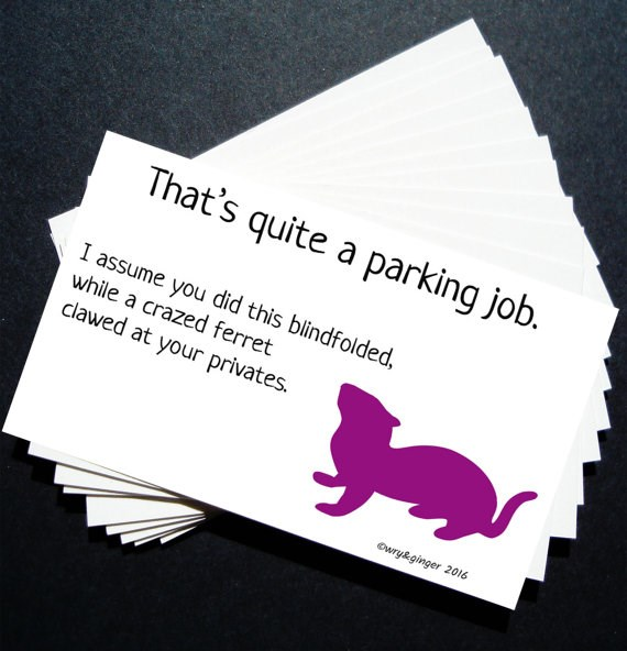 funny parking notes sold on Etsy that use animal puns