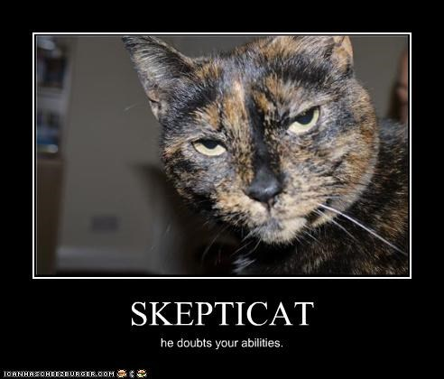 SKEPTICAT he doubts your abilities.