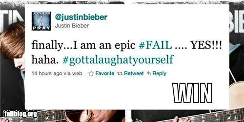 2010,a sense of humor,acceptance,celeb,failboat,g rated,hashtags,justin bieber,top fails 2010,tweets,win