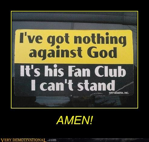 amen bumper sticker politics fan club god jk lol religion - 4265000704