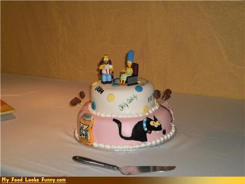 cake decorated simpsons superfans topper wedding