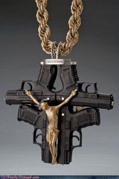 guns jesus keep it real necklace