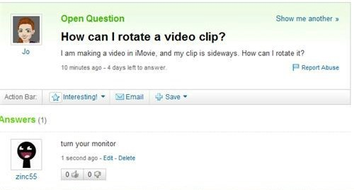 yahoo answers,imovie,monitors