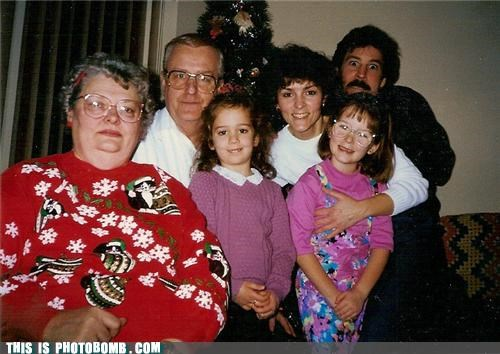 Awkward family holidays mustache photobomb - 4267400960