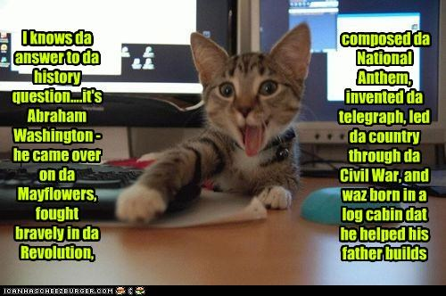 abraham lincoln,answer,caption,captioned,cat,confused,fact,george washington,history,incorrect,kitten,lolwut,mixed up,participation,school