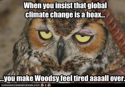 When you insist that global climate change is a hoax... ...you make Woodsy feel tired aaaall over.