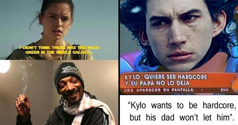 Funny Star Wars memes, The Force Awakens, The Last Jedi, REy, Kylo Ren, Han Solo, Princess LEia.
