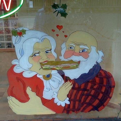 mrs claus,sandwich,santa,wtf