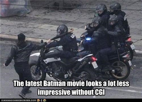 assault batman cgi movies police protesters umbrella violence