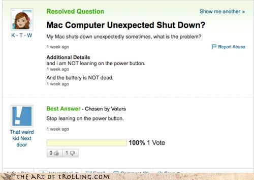 leaning,yahoo answers,power button
