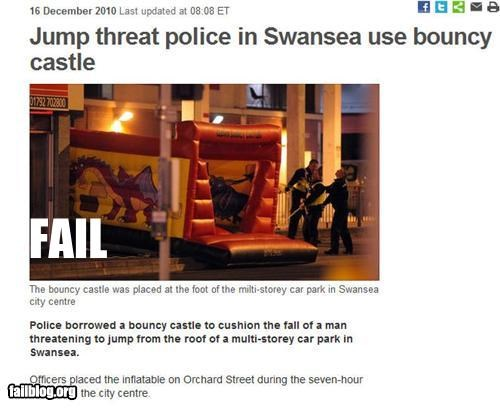 High-tech police equipment fail Police use a bouncy castle to cushion the fall of a potential suicide