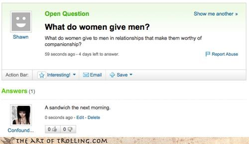 yahoo answers,morning,sandwich,women
