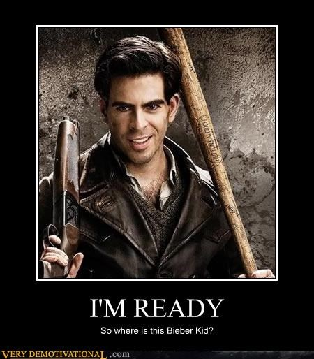 bear jew,celeb,eli roth,guns,in my dreams,Inglorious Basterds,justin bieber