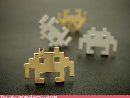 80s,earrings,jewelrty,retro,space invaders,studs,video game