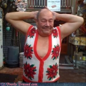 Grandpa no shirt old guy sweater - 4270094592
