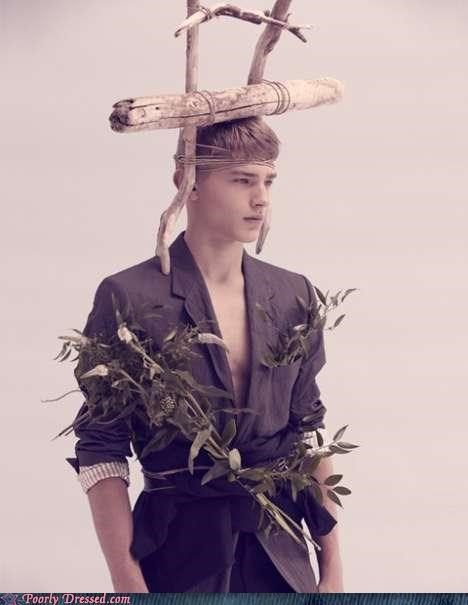 amish,hat,jacket,leaves,plants,wood,wtf