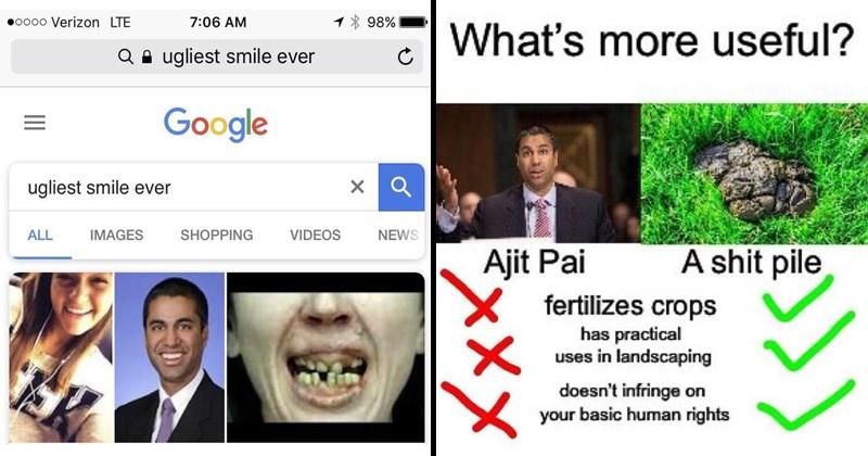 Funny memes about Ajit Pai, net neutrality, FCC.