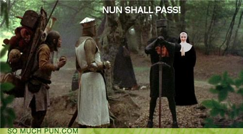 bus,hall,homophone,kinds,literalism,monty python,none shall pass,nun,pass,passes,types