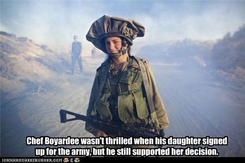 Chef Boyardee wasn't thrilled when his daughter signed up for the army, but he still supported her decision.