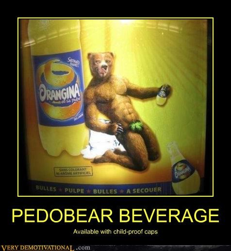 PEDOBEAR BEVERAGE Available with child-proof caps