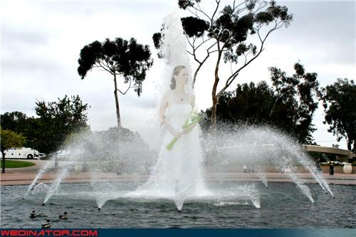 bride,bride walks on water,Crazy Brides,fashion is my passion,fountain picture,funny photoshopped wedding picture,funny wedding photos,photoshopped bride picture,photoshopped wedding picture,surprise,technical difficulties,weird photoshopped wedding picture,wtf