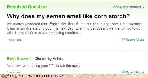 cat,gravy,secret ingredient,semen,starch,Yahoo Answer Fails