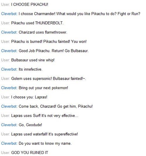 pikachu,thunderbolt,Cleverbot,name