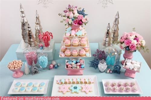 candy christmas cokies cupcakes pastels snacks spread