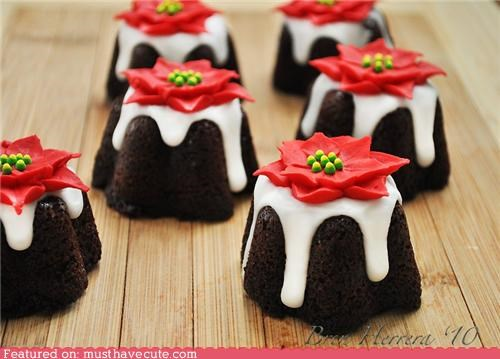 cakes,chocolate,festive,Flower,fudge,holiday,mini,peppermint,poinsettia