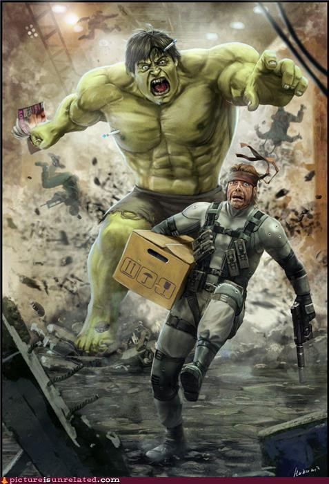 art,awesome face,hulk,metal gear,solid snake,wtf