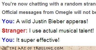 justin bieber,Omegle,Pokémon,singing,super effective,water battle,water gun