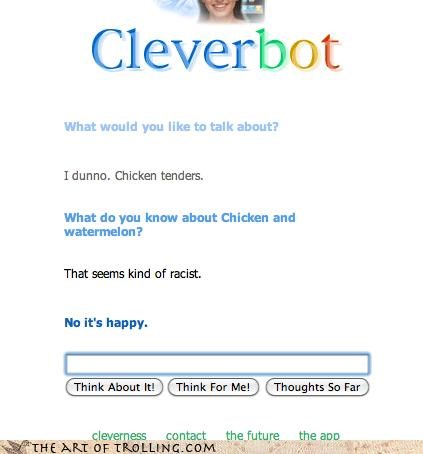 wtf chicken Cleverbot racist - 4273403904