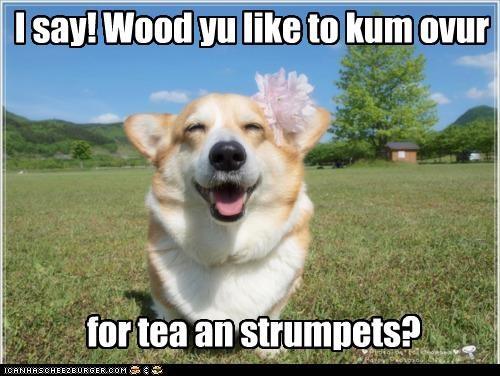 I say! Wood yu like to kum ovur for tea an strumpets?