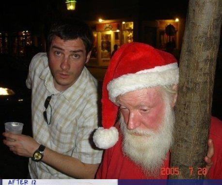 drunk photobomb santa claus