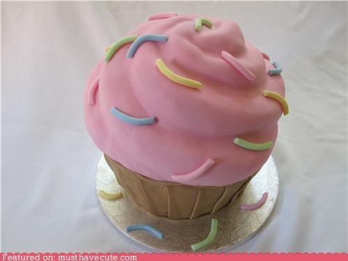 cake cupcake epicute fondant pink sprinkles - 4274837760