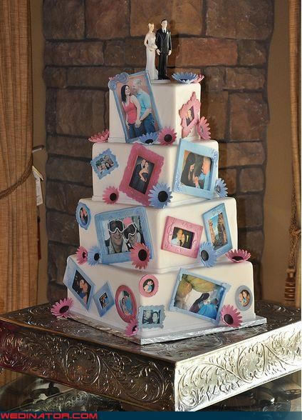 awesome wedding cake,bride,crazy wedding cake,Dreamcake,funny wedding photos,groom,magnetic wedding cake,photo-themed wedding cake,were-in-love,wedding cake collage