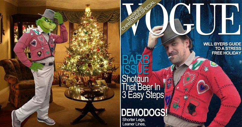 funny photoshop memes of david harbour as sheriff hopper in stranger things, holiday photoshops, ugly sweater, netflix.