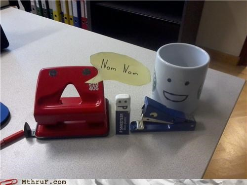 eraser,hole punch,mug,nom,personification,stapler