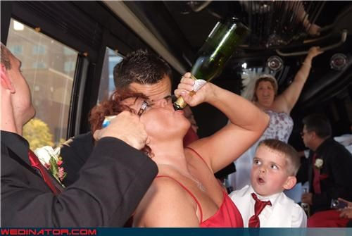 boozing bride drunk drunk wedding guest funny ring bearer picture funny wedding photos hitting the bottle miscellaneous-oops ring bearer surprise wasted wedding booze wedding party white trash wedding - 4275384832