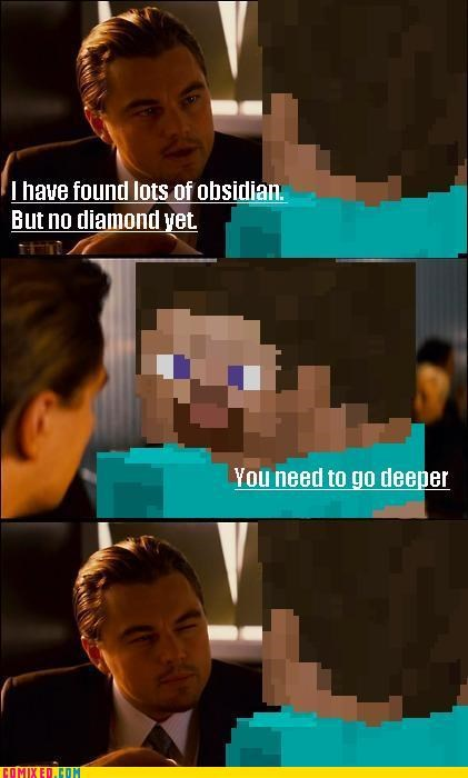 diamonds,Inception,minecraft,puns,video games
