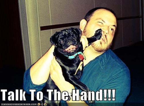 dis dismissing facepalm literalism pug talk to the hand